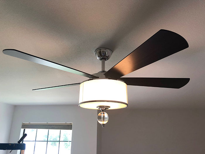 Smart Ceiling Fan With Light Attachment Installed