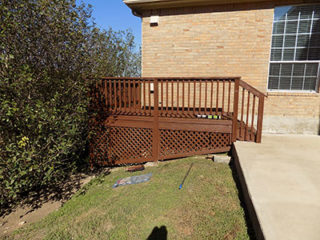 Pressure washed and painting outside deck with stairs
