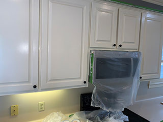 pearl white paited cabinets