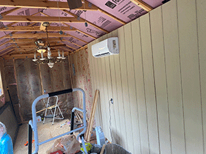 install insulation, and inside wallboard siding